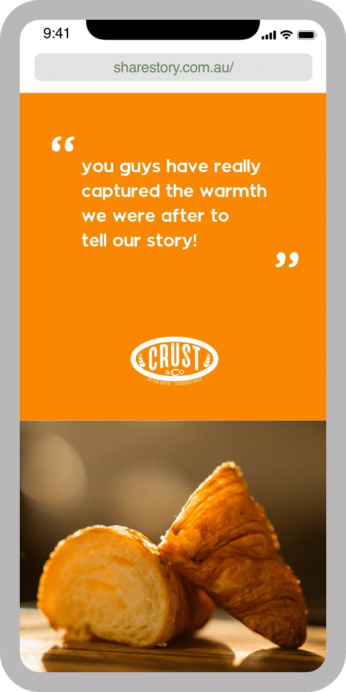 iPhone mockup featuring the ShareStory website